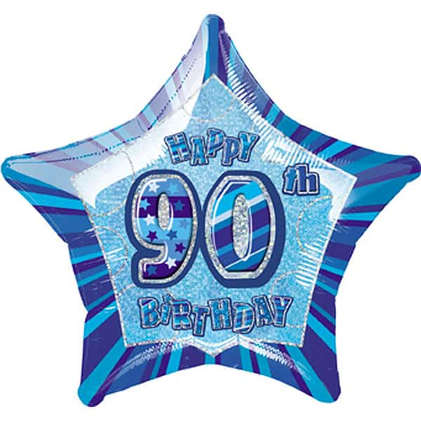 Blue Glitz Age 90 Happy Birthday Prismatic Foil Helium Balloon 51cm / 20Inch