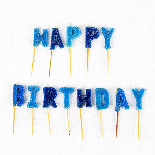 Blue Glitz 'Happy Birthday' Pick Candles - Pack of 13 Product Image