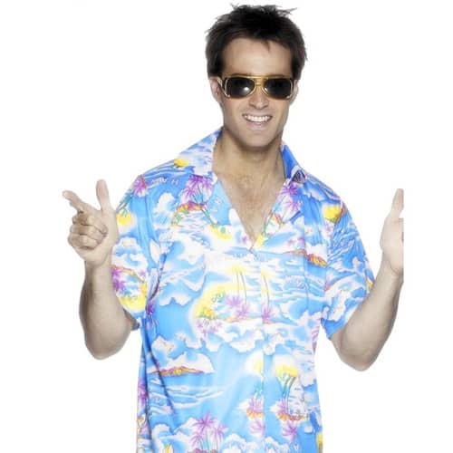 Blue Hawaiian Shirt Medium Mens Fancy Dress