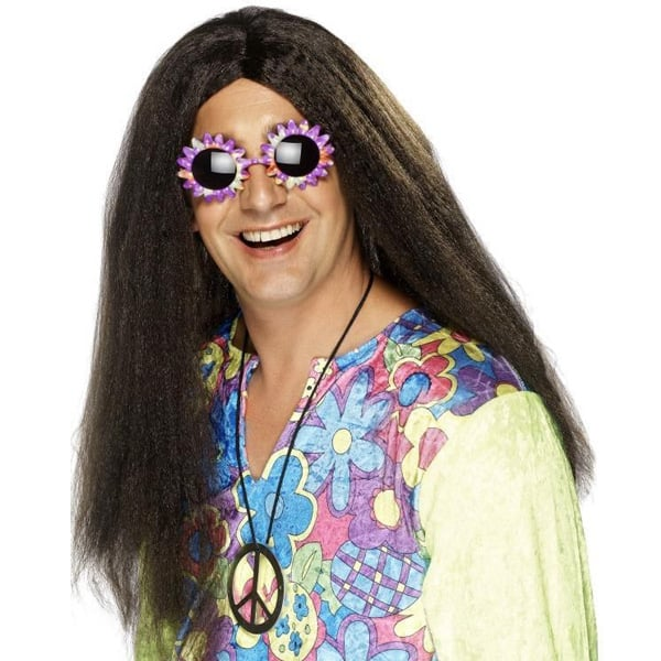 Brown Hippy Mens Long Wig