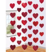 Red Colour Strings of Hearts – 7 Ft / 213cm – Pack of 6