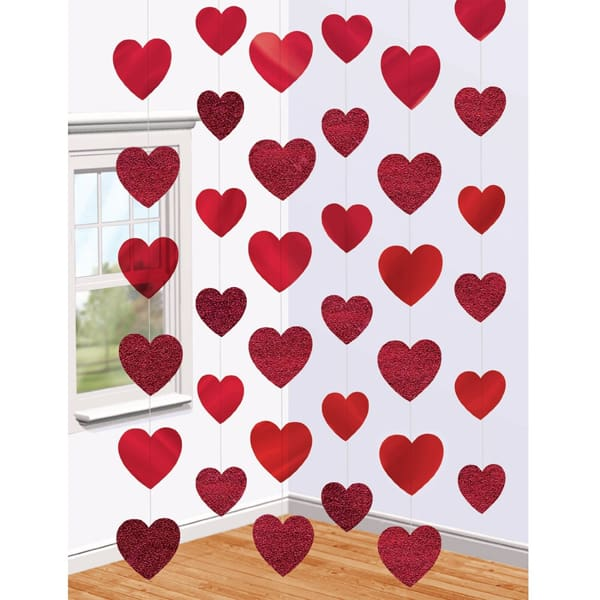 Red Colour Strings of Hearts - 7 Ft / 213cm - Pack of 6