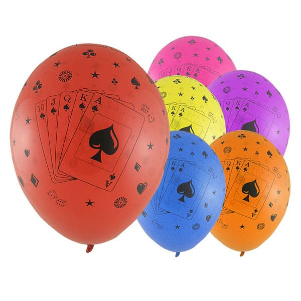 Casino Cards Latex Balloons - 12 Inches / 30cm - Pack of 6