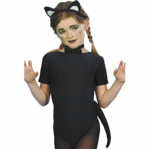 Childs Cat with Ears Tail and Bow Tie Instant Fancy Dress Kit