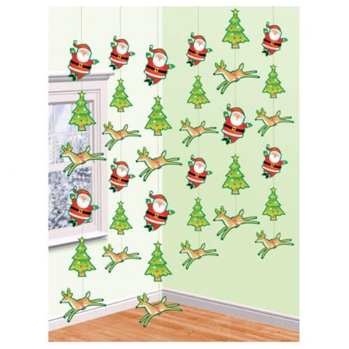Christmas and Santa String Decoration 7 Feet - Pack of 6