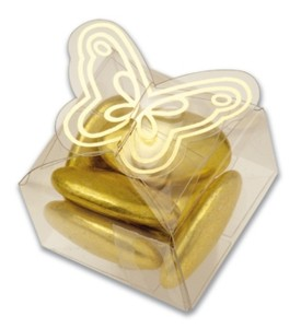 Clear Cube Butterfly Box with Gold Edging