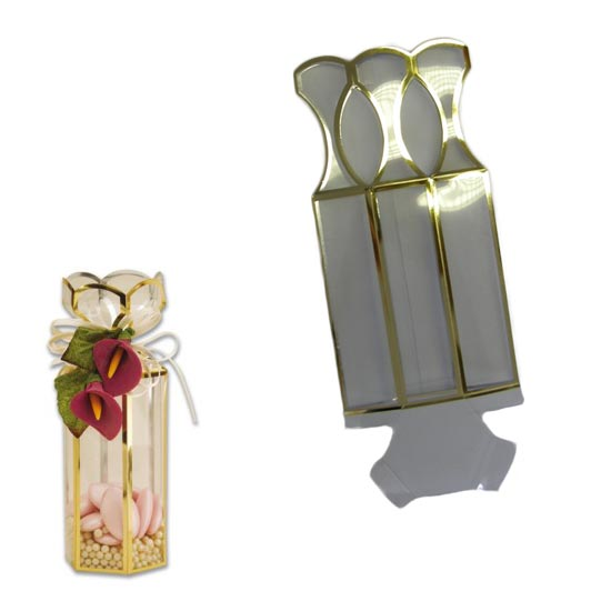 Clear Hexagonal Favour Box with Gold Edging