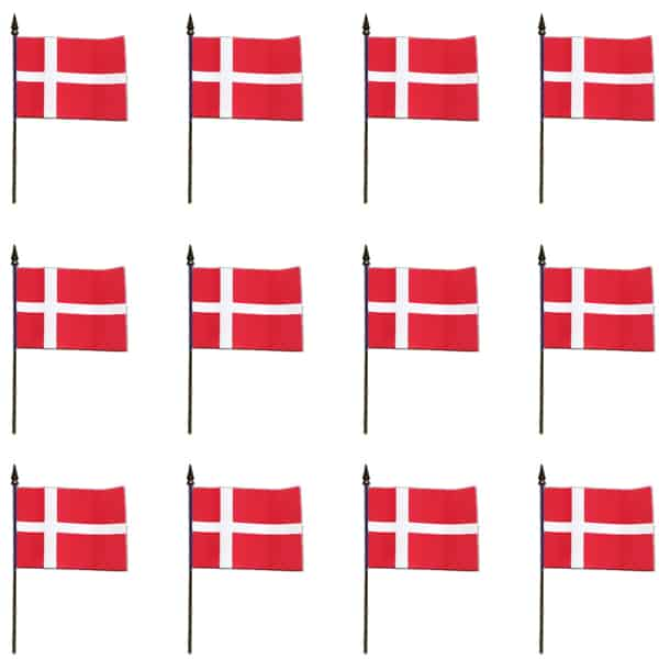 Denmark Hand-held Cloth Flag – 6 x 4 Inches / 15 x 10cm – Pack of 12