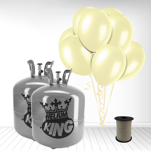 Disposable Helium Gas Cylinder with 100 Ivory Balloons and Curling Ribbon