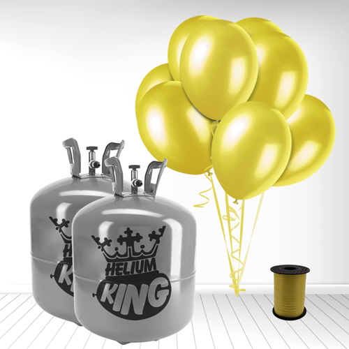 Disposable Helium Gas Cylinder with 100 Yellow Balloons and Curling Ribbon Product Image