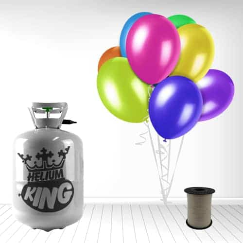 Disposable Helium Gas Cylinder with 30 Assorted Balloons and Curling Ribbon