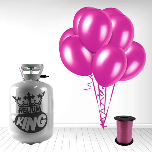Disposable Helium Gas Cylinder with 30 Fuschia Balloons and Curling Ribbon Product Image
