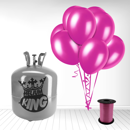 Disposable Helium Gas Cylinder with 50 Fuschia Balloons and Curling Ribbon Product Image