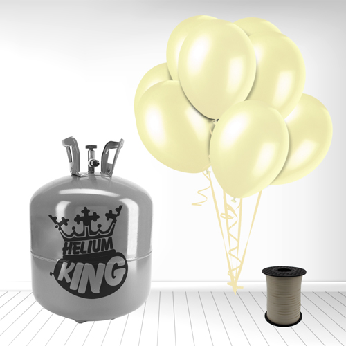 Disposable Helium Gas Cylinder with 50 Ivory Balloons and Curling Ribbon