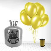 Disposable Helium Gas Cylinder with 50 Yellow Balloons and Curling Ribbon