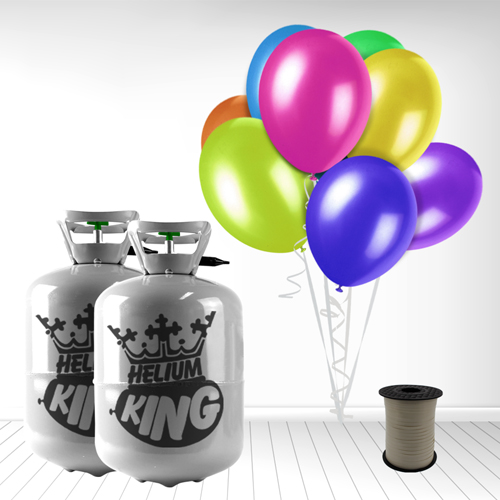 Disposable Helium Gas Cylinder with 60 Assorted Balloons and Curling Ribbon