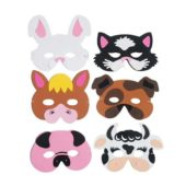 Assorted Farm Animals Foam Masks – Pack of 6
