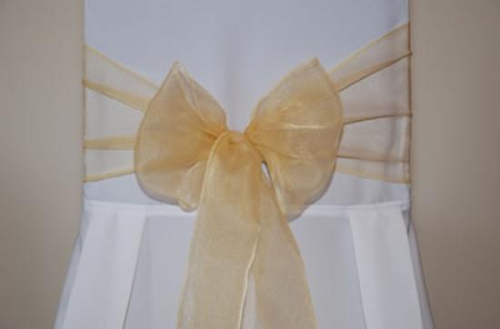 Superieur Gold Organza Wedding Chair Bow Tie 3M X