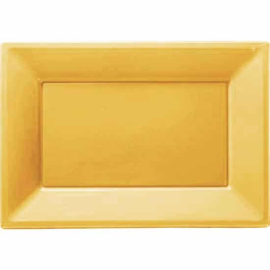 Gold Rectangular Plastic Serving Tray - 9 x 13 Inches / 23 x 33cm - Pack of 3