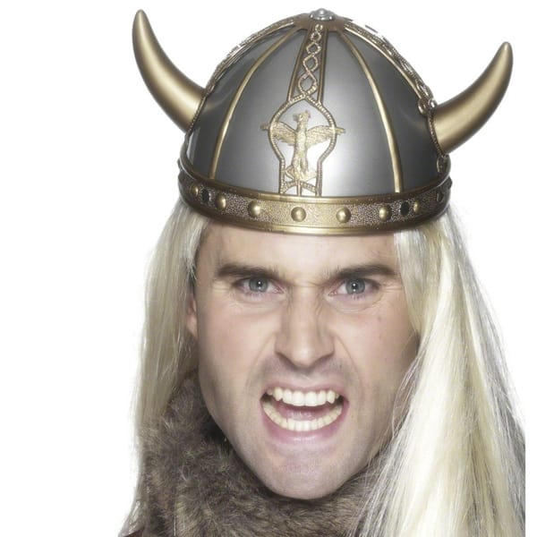 Gold and Silver Hard PVC Viking Helmet