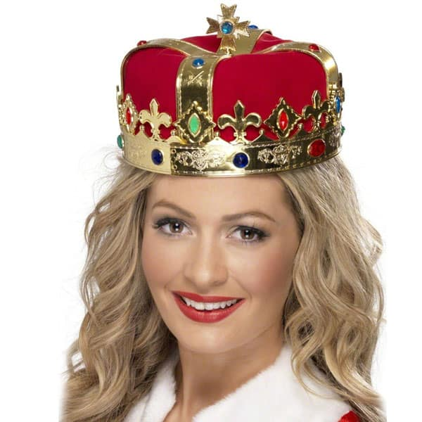 Gold with Red Fabric Queens Crown