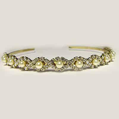 Golden Diamante and Pearl Headband