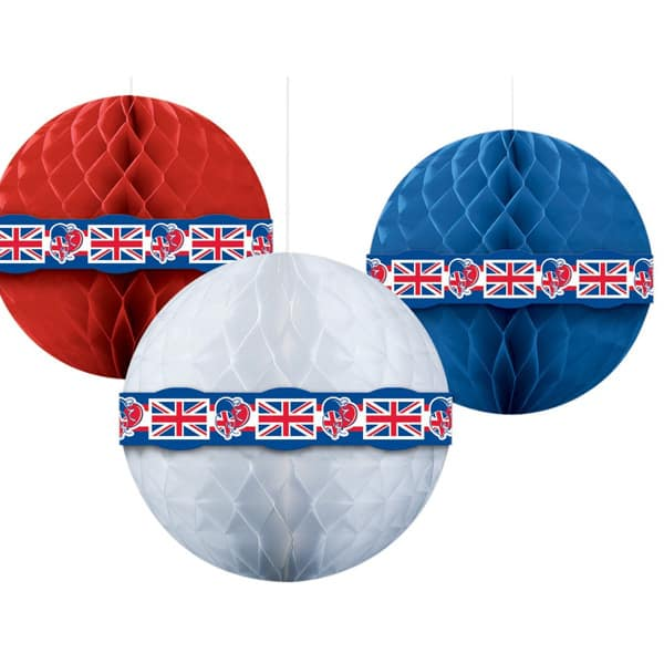 Great Britain Union Jack Red White Blue Honeycomb Balls - 1 Ft / 29cm - Pack of 3