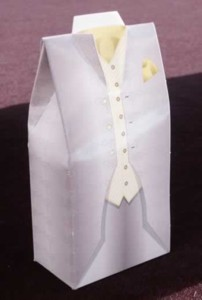 Grey Tuxedo Box with Yellow Handkerchief Product Image
