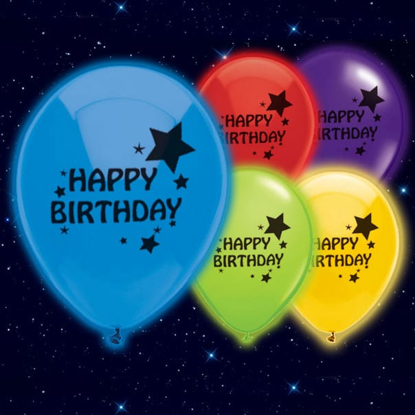 Happy Birthday Print Illoom Balloons - 9 Inches / 23cm - Pack of 5
