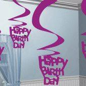 Happy Birthday Swirl Decorations Pack Of 5 Swirls