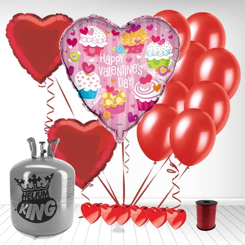 Happy Valentines Day Cupcake Heart Shaped Balloon and Small Helium Gas Package