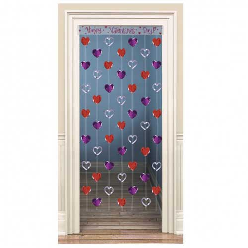 Happy Valentines Day Heart Foil Cascade Door Curtain – 78 x 35 Inches / 198 x 90cm