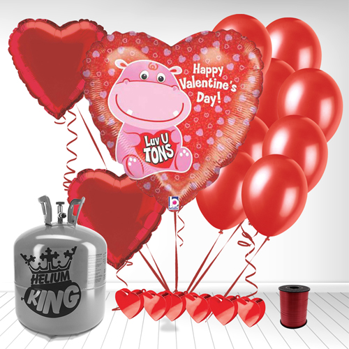 Happy Valentines Day Luv U Tons Valentine Balloon and Small Helium Gas Package Product Image