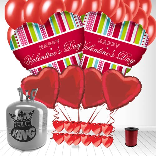 Happy Valentines Day Stripes Heart Shaped Balloon and Large Helium Gas Package Product Image