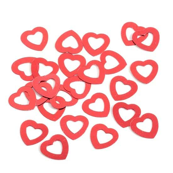 Red Hollow Hearts Table Confetti - 14 Grams
