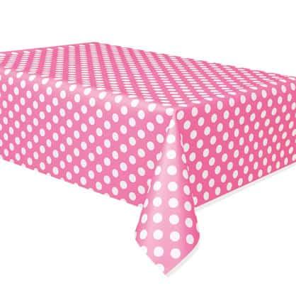Hot Pink Decorative Dots Plastic Tablecover - 137cm x 274cm Bundle Product Image