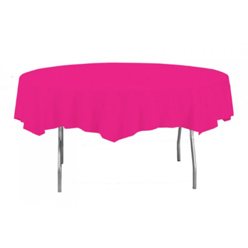 Hot Pink Round Plastic Table Cover - 213cm Round