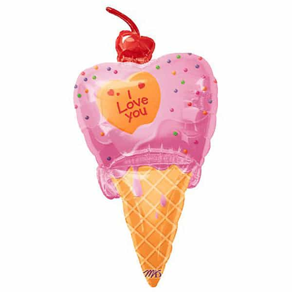 I love You Ice Cream Cone Helium Foil Giant Balloon 117cm / 46 in