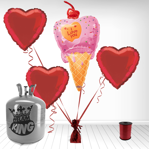 I love You Ice Cream Cone Foil Balloon and Helium Gas Package