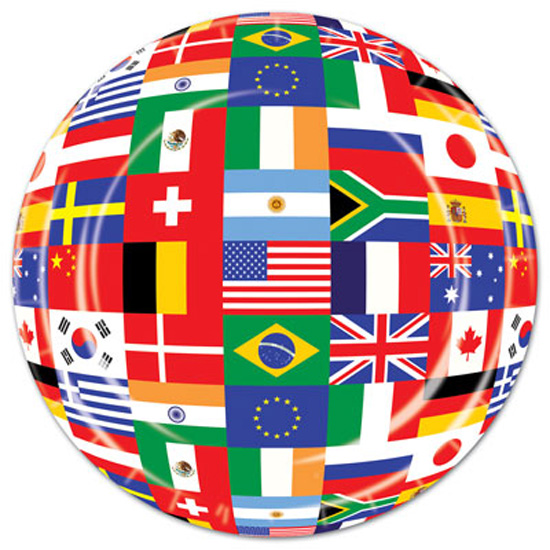 International Flags Themed Paper Plate - 9 Inches / 23cm