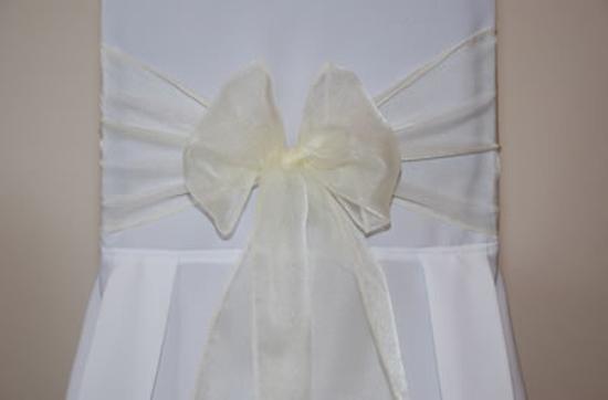 Ivory Organza Wedding Chair Bow Tie - 3m x 22cm