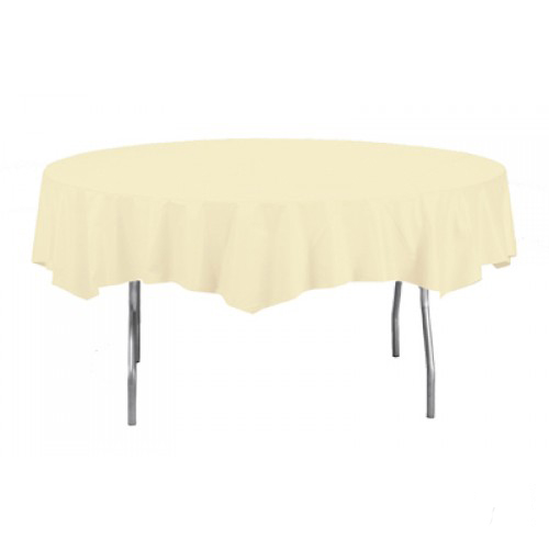 Ivory Round Plastic Tablecover - 213cm Diameter
