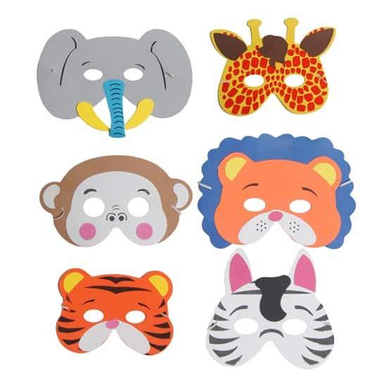 Assorted Jungle Animals Foam Masks - Pack of 6