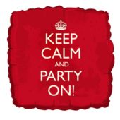 'Keep Calm And Party On' Square Foil Balloon – 18 Inches / 46cm