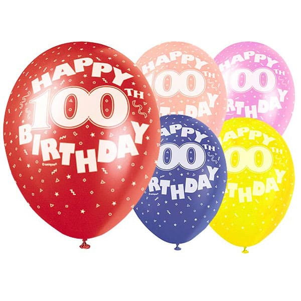 Assorted Biodegradable Latex Balloons for 100th Birthday - 12 Inches / 30cm - Pack of 5