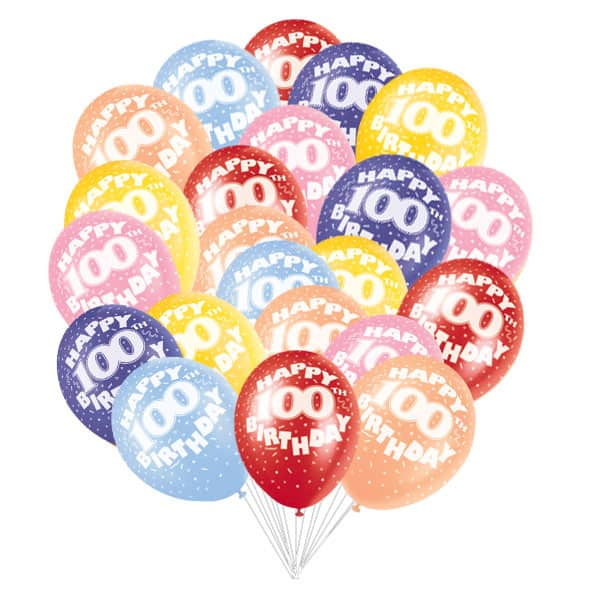 Assorted Biodegradable Latex Balloons for 100th Birthday - 12 Inches / 30cm - Pack of 50