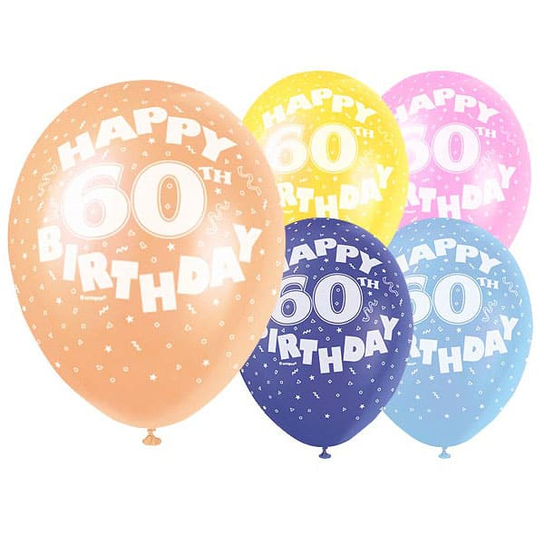 Latex-Balloons-12-Inch-Age-60-Pack-of-5-product-image