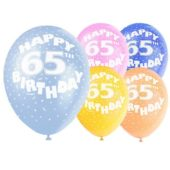 Assorted Latex Balloons For 65th Birthday 12 Inches 30cm Pack