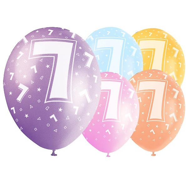 Latex Balloons 12 Inch Age 7 Pack Of