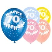 Assorted Biodegradable Latex Balloons For 70th Birthday 12 Inches 30cm Pack